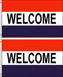 ( Pack 2 Lot) 3x5 Publicité Welcome Marketing Drapeau 0.9mx5 'bannière Œillets 4d6wolui-10044313-315292449