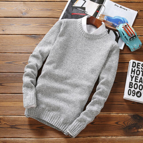 Men/'s Slim Fit Knitwear Coats O-Neck Jumper Casual Sweaters Pullover Tops Outer