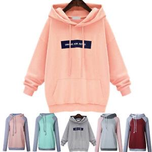 7aee2c2f1b1 Image is loading Plus-Size-Womens-Hoodies-Sweatshirt-Ladies-Girls-Hooded-