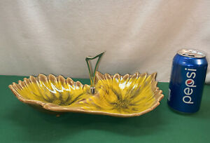 Vtg 60-70's HIPPY Psychedelic Calif USA Pottery Yellow Handled Cigarette Ashtray