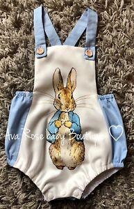 Boys baby blue handmade Peter Rabbit Romper 6-9 months