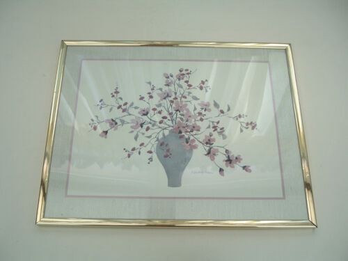 C. Winterle Olson pink flowers in vase watercolor printed matted framed
