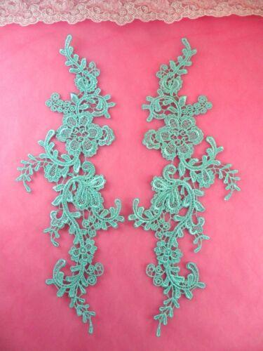 """GB459X-mtgr Embroidered Appliques Aqua Mint Mirror Pair Floral 12/"""""""