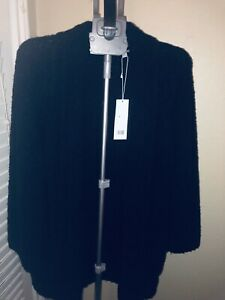 Vince-Open-Front-Wool-amp-Cashmere-Blend-Cardigan-XS-545-Black-with-pockets