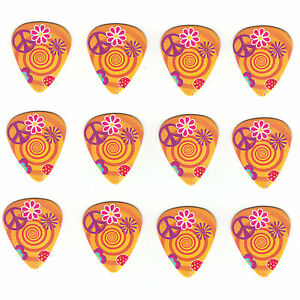 12-Pack-Bulk-PEACE-LOVE-HIPPIE-SWIRL-MUSHROOM-Medium-Cool-Trippy-Guitar-Picks