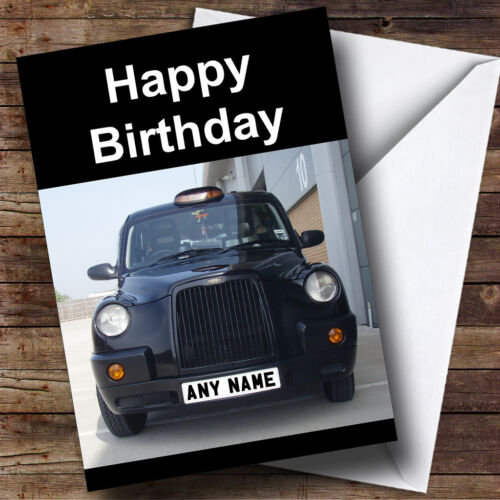 Taxi Black Cab Personalised Birthday Greetings Card