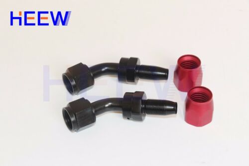 AN10 10AN 45 degree Fuel Swivel Fitting Hose End Oil Fuel Adaptor Red Black 2PCS