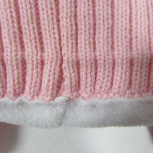 Baby Babies Turn Up Hat Pink White Ear Flaps Fleece Lined Knitted 6 18 Months