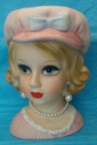 VINTAGE-HTF-5-1-2-034-RELPO-2012-PINK-BLONDE-TEEN-LADY-HEAD-VASE-HEADVASE-MINT-COND