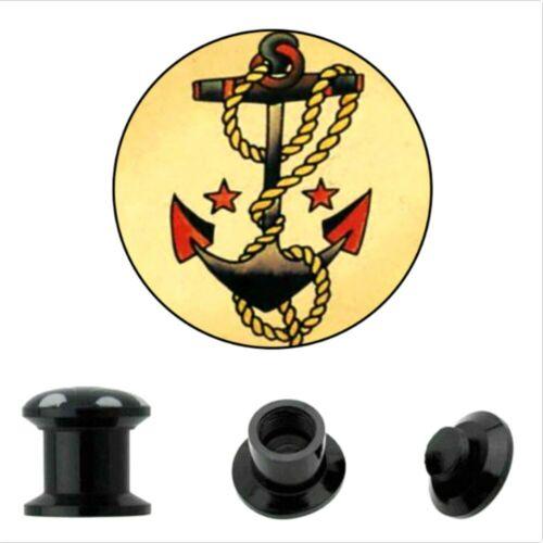 4-16mm motivos atornilla oreja Plug screw anclaje fit lechuza Gothic túnel negro retro