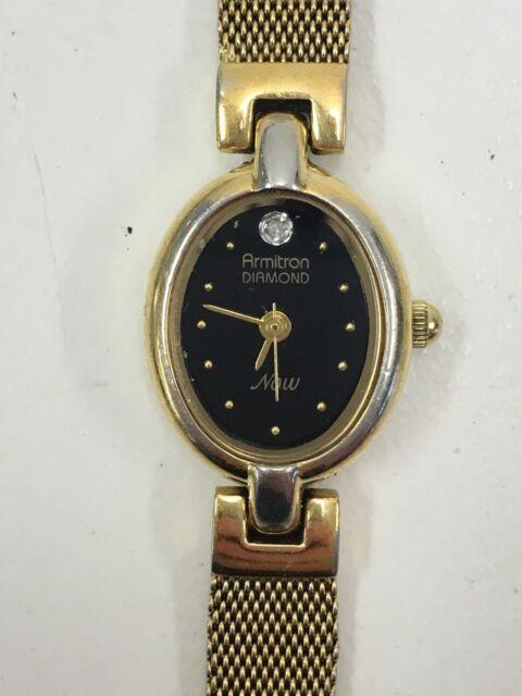 Working Ladies Gold Armitron Now Diamond Watch BU