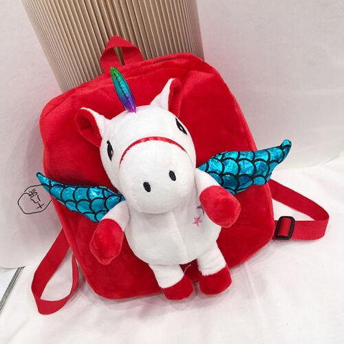 Women Girls Cute Unicorn with Plush Wing Backpack Kids School Rucksack Bag #gar