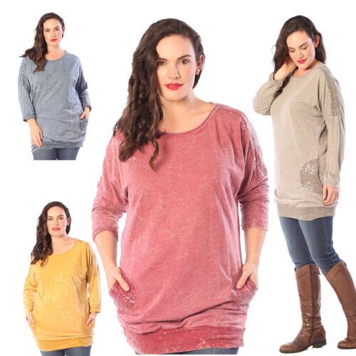 New Womens Batwing Top Ladies Plus Size Sequin Side Pockets Shirt Warm Nouvelle