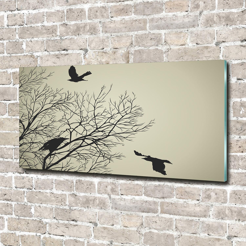 Wandbild aus Plexiglas® Druck auf Acryl 140x70 Tiere Krähen Baum