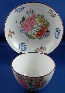 Antique-19thC-New-Hall-Porcelain-Fun-Floral-Cup-amp-Saucer-English-England-Tasse
