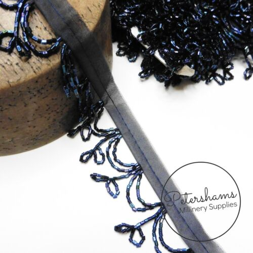 Beaded Double Loop Fringe Trim for Hat Making /& Millinery 1m