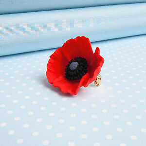 Small poppy brooch hand painted flower jewellery made in wales uk ebay image is loading small poppy brooch hand painted flower jewellery made mightylinksfo