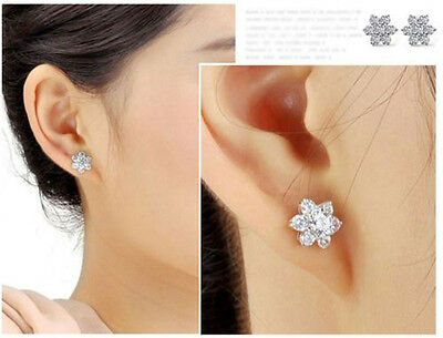 New Simple 925 Sterling Silver Lady Lovely Snowflake Earrings&Necklace Pendant