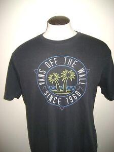 Vans-Shoes-Mens-Retro-Dual-Palm-OTW-SS-Logo-T-shirt-Faded-Black-Free-Ship-NWT