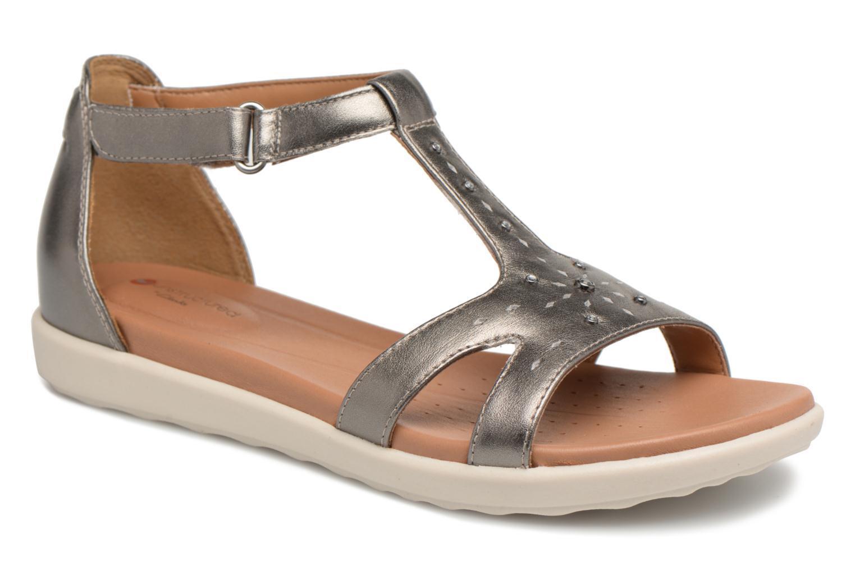 BNIB Clarks Unstructurouge argent Leather Flat Low Wedge Heel T- Bar Sandals Sz 8