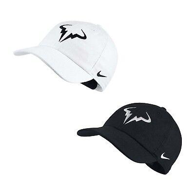 8ca945437 Nike Unisex Court AeroBill H86 Rafael Nadal Adjustable Tennis Cap Rafa B/W  Hat   eBay