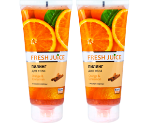 2,00Eur/100ml ) 2x Fresh Juice Elfa Körper Peeling Orange & Cinnamon, 2x 200 ml