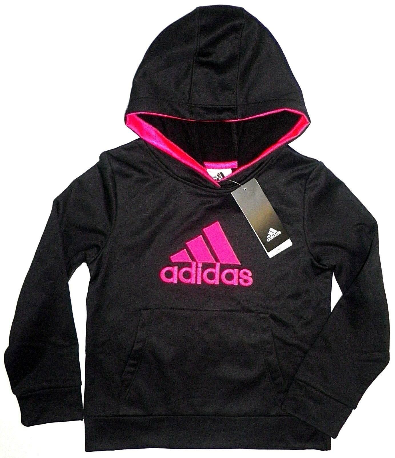 adidas Little Girls Pullover Fleece Lined Hoodie Sweatshirt Black Pink Kids 6