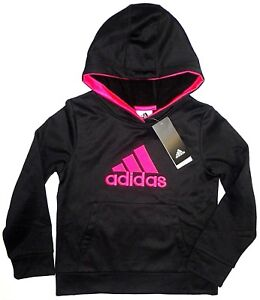 footwear new cheap better Details about ADIDAS Girls Pullover Fleece Lined Hoodie Sweatshirt Black  Pink Little Kids 6