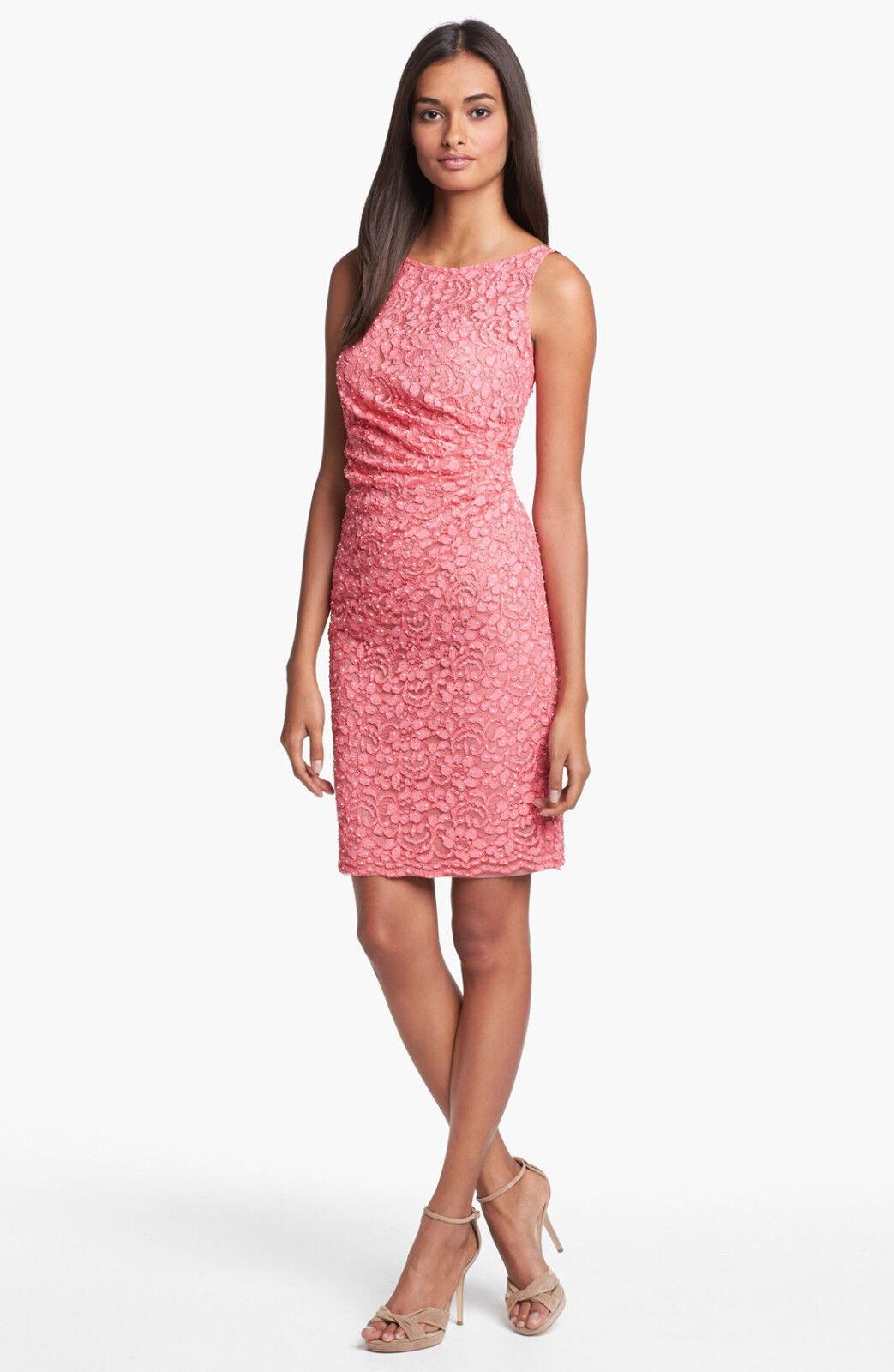 NWT Aidan Mattox Embellished Lace Sheath Dress HOT PINK SIZE 10