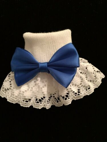 NEW WHITE-IVORY LACE WEDDING//PARTY DRESS FRILLY ANKLE SOCKS LARGE SATIN BOW