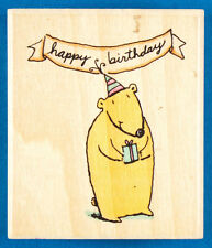Chimp in Birthday Hat Party Chimpanzee Rubber Stamp