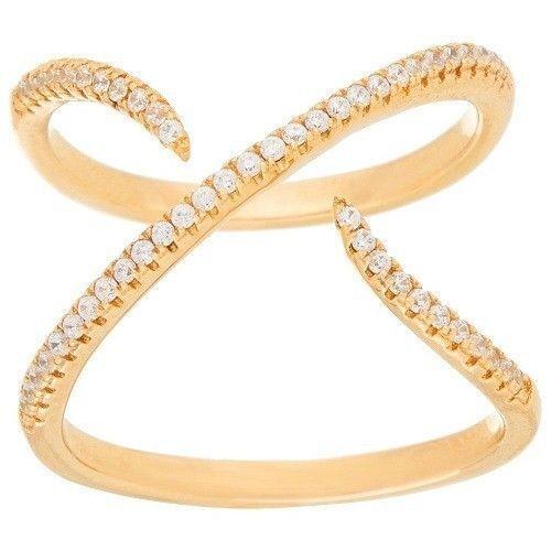 QVC  by Bronzo Italia Ring   X  Design Bronze  Crystal Size 8