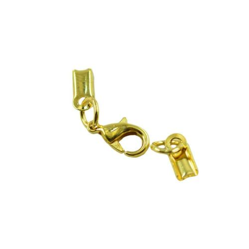 24pcs Ribbon Clip Clamp Cord Crimp End Cap Tip With Lobster Clasp Findings