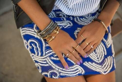 Nwt 225 blu ovunque piccola ~ venduta mini ~ yumi Kim ~ Ana gonna con perline ~ di 6wBI6rq