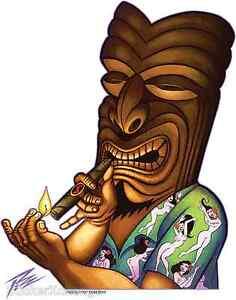 Kahuna-Tiki-Sticker-Decal-Artist-The-Pizz-Cigar-Smoker-P62