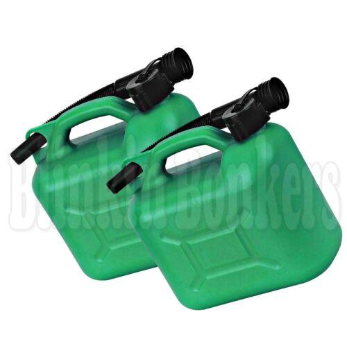 2 UNLEADED PETROL CAN 5L 5 LITRE GREEN PLASTIC JERRY CONTAINER FLEXIBLE SPOUT 41