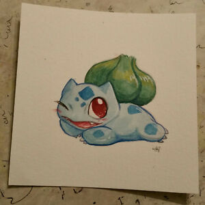 Details About Pokemon Watercolor Painting Cute Bulbasaur Gen 1 Draw Me Like One Of Your French