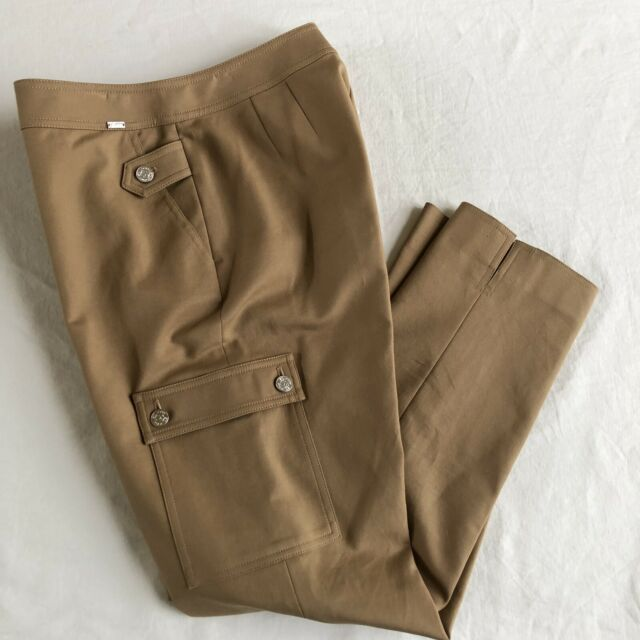 ST JOHN Yellow Label Khaki Pants size 6 High Rise Waist w/ Cargo Pocket Straight
