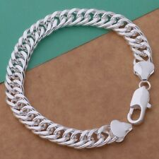 Bracelet Solid Flat Curb Chain Link 925 Sterling Silver Chunky Solid 10 mm Gift
