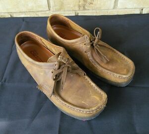 Women's Brown Leather Sz Moc M Shoes Up Wallabees Clarks Toe 10 Lace ESwrSq