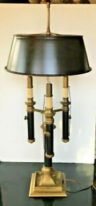 Vintage-CHAPMAN-Bouillotte-Triple-Arm-Solid-Brass-Lamp-34-034-tall