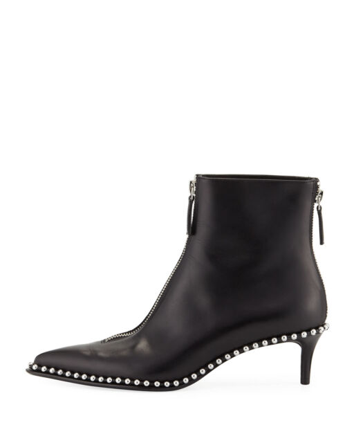 Alexander Wang Eri Black Leather Ankle Boots with Studs and Zip 37,5(EU)-7½(US)