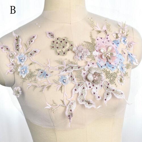 Adorno de encaje bordado de Novia Vestido para Boda De Perlas De Adorno Floral Con Cuentas Recortar 1PC