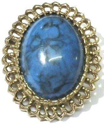 Genereus Broche Ancien Bijou Vintage Couleur Argent Ovale Cabochon Bleu Marbré 3471