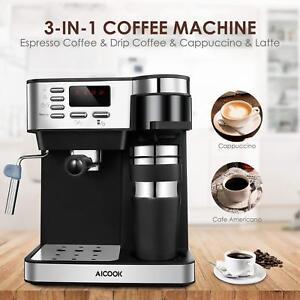 Aicook Cafetera Automática Multifuncion Espresso Goteo y Espumador 15 bares NEW nptFgeHW-07223647-800573818