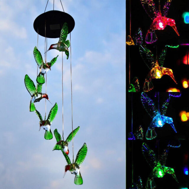 Solar Color Changing Led Hummingbird Wind Chimes Home Garden Decor Light Lamp Us