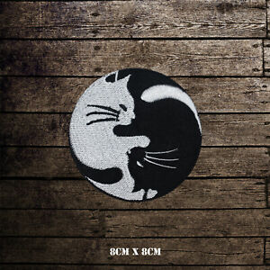 Yin Yang Cats Embroidered Iron On Sew On Patch Badge For Clothes Bags Shoes etc