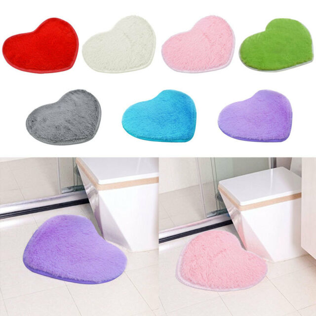 Heart Absorbent Memory Foam Bath Bathroom Floor Shower Heart Mat Rug 30*40cm New