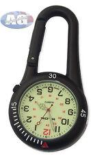 Clip on Black Carabiner Sprung Paramedic Doctors Nurses Sport Style Fob Watch