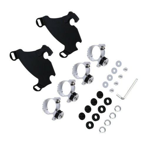 Motorcycle 49mm Front Gauntlet Headlight Fairing Lock Mount Kit For Harley Dyna